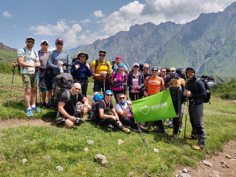 Группа Кулуар перед восхождением на Казбек