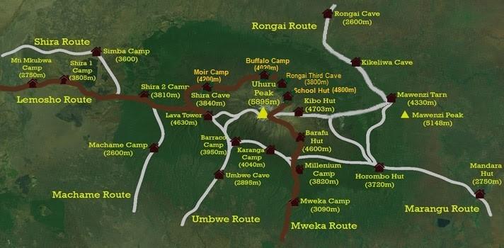 Схема маршрутов на вершину Ухуру пик 5895 м (коричневым цветом указанный Северный траверс)
