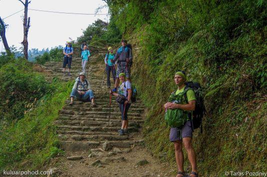 в Непале с рюкзаком Вауде