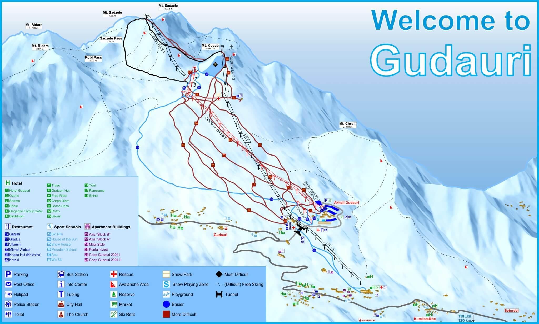 Карта горнолыжных трасс Гудаури